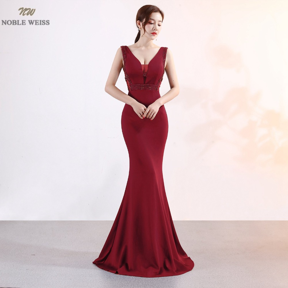 NOBLE WEISS Sexy Prom Dress Satin Deep V Neck See Through Neckline Slim Simple Corset Luxurious