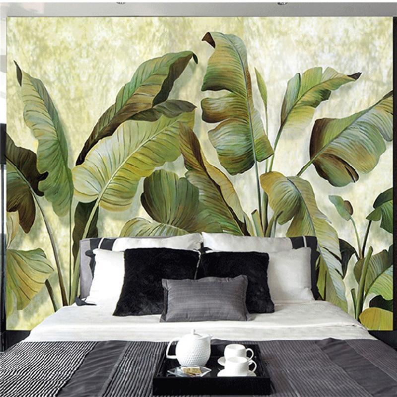 Custom mural wallpaper southeast asian tropical green for Asian mural wallpaper
