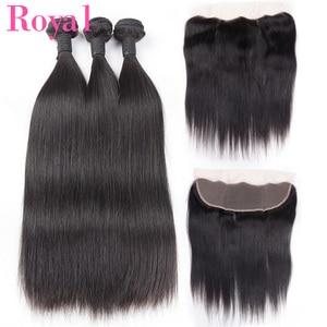 ROYAL Indian Straight Hair Bundles 3/4 Bundles With Frontal 13*4 Human Hair Bundles With Closure 4