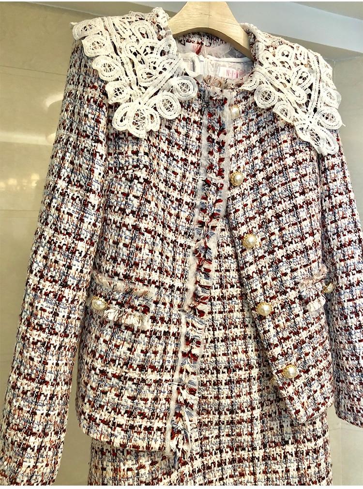 Élégant Blanc Automne Mujer Picture 2019 Longues Dentelle Hiver Piste Tweed De Color Manteau Survêtement Mode Veste Printemps Manches Femmes Laine Pardessus Tdqvw4dx