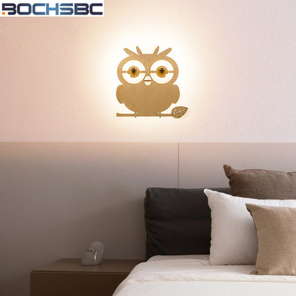 Stairs Corridor Wall Lamp Bedside Light Aisle Led Wall Light European Children Room Wall Sconce Modern Bedroom Owl Wall Lamps modern wooden led wall lamp bed room bedside natural solid wood white glass bedroom bedside aisle corridor entrance wall sconce