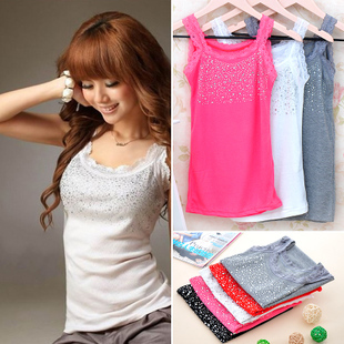 Spaghetti strap paillette vest female basic shirt lace vest loose tank bricks vest