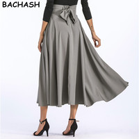 BACHASH 2017 Women Linen Cotton Long Skirts Elastic Waist Pleated Maxi Skirts Beach Boho Vintage Summer