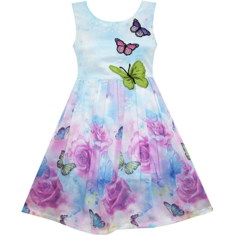 Girls Dress Rose Blomst Butterfly Broderi Lilla 2018 Summer Princess Wedding Party Kjoler Girl Clothing Size 4-12 Pageant