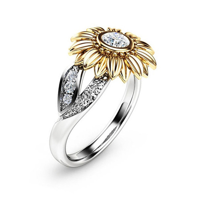 Cute Sunflower Charms Rings Silver Color CZ Crystal Engagement Rings for Women Wedding Party Fashion Jewelry valentines day gift