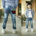 2016 ropa para niños otoño nuevos pantalones vaqueros chicos con última impresión denim pocket buena calidad kids jean B078