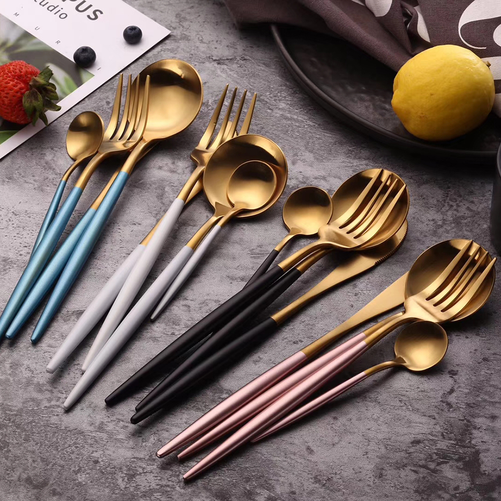 Wholesale 16 pcs stainless steel gold cutlery kitchen stuff accessories fork spoon folding knife dining dinner