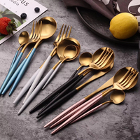 Wholesale 16 pcs stainless steel gold cutlery kitchen stuff accessories fork spoon folding knife dining dinner tableware set