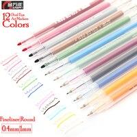 Знать 12 цветов художника двойной художественный маркер ручка 0,4 мм тонкий наконечник акварельные эскизные маркеры для школьных принадлежн...