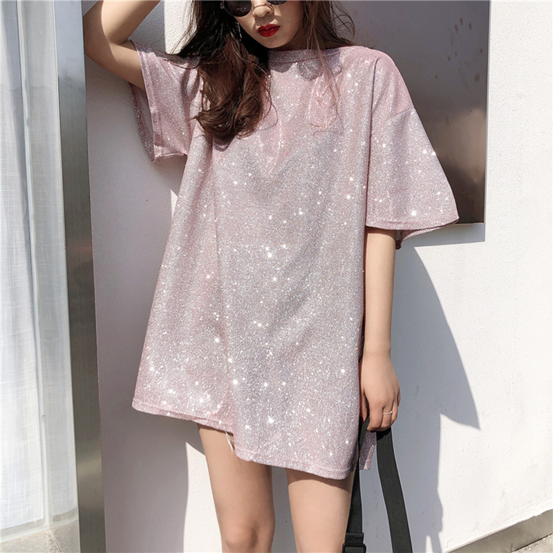 Vetemen Femme Bling T Shirts 2018 Korean Women Tshirt Fashion Summer Short Sleev