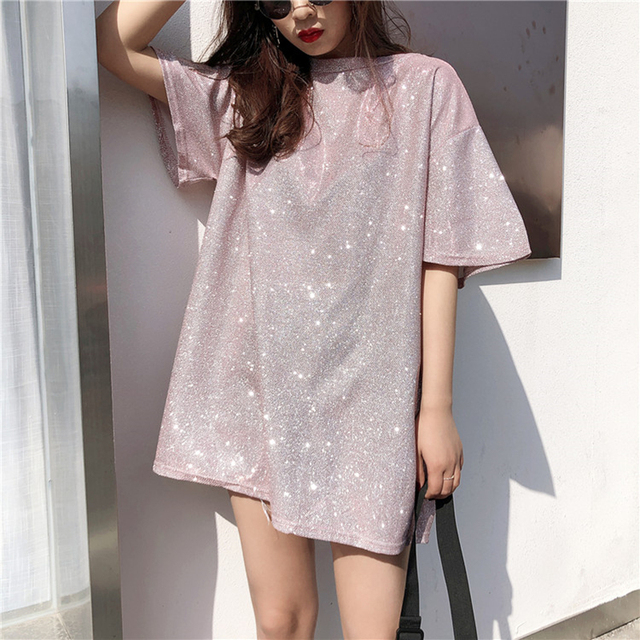 Vetemen Femme Bling T Shirts 2019 Korean Women Tshirt Fashion Summer Short Sleeve O Neck Causal Loose Solid Tees Tops Oversized by Miss Feb Plum