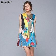 Banulin Runway Designer Summer Dress Womens Sleeveless Luxury Floral Animal Print Casual Loose Elegant Vestidos B1613