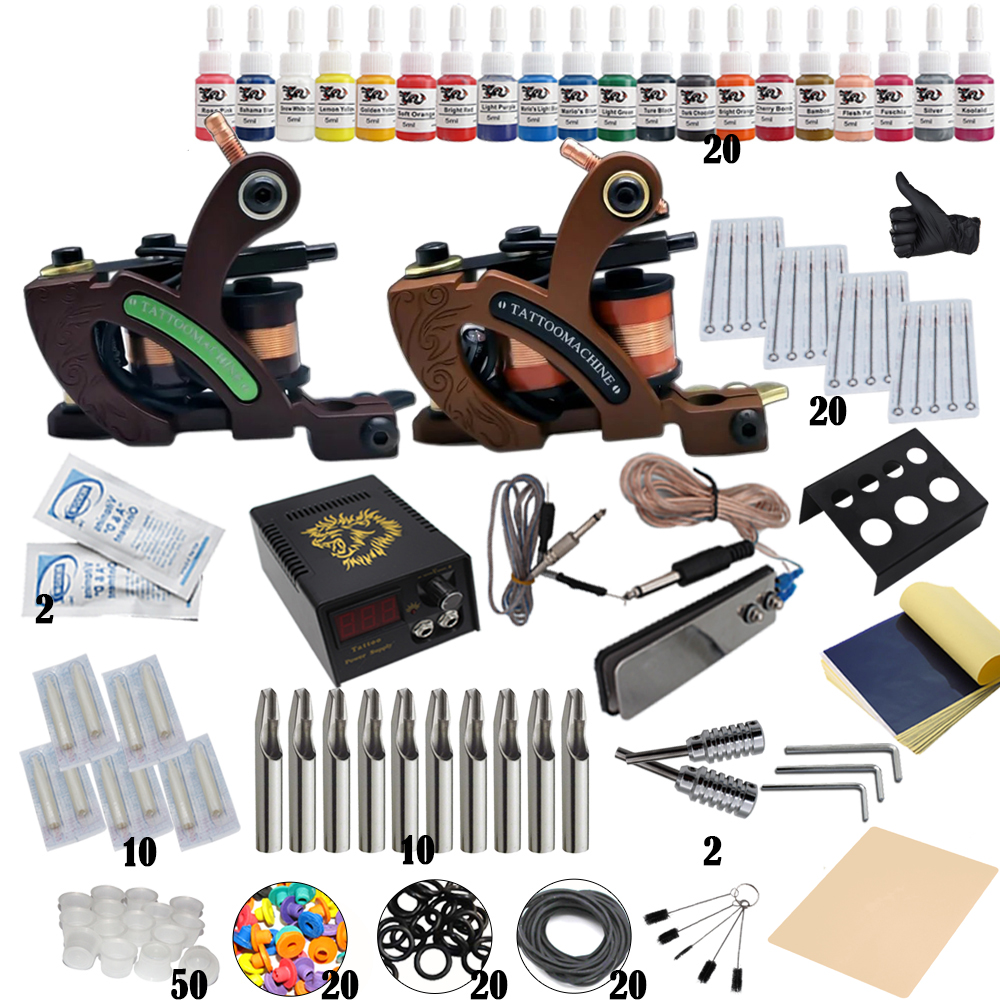 Professional Tattoo Kit 2 Machine Gun 14 Color Inks Power Supply Complete Tattoo Kits