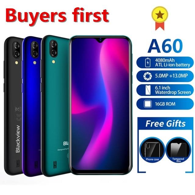 "2019 Original Blackview A60 4080mAh Smartphone Android 8.1 1GB+16GB 13MP MT6580 Quad core 6.1"" Waterdrop Screen 3G mobile phone"