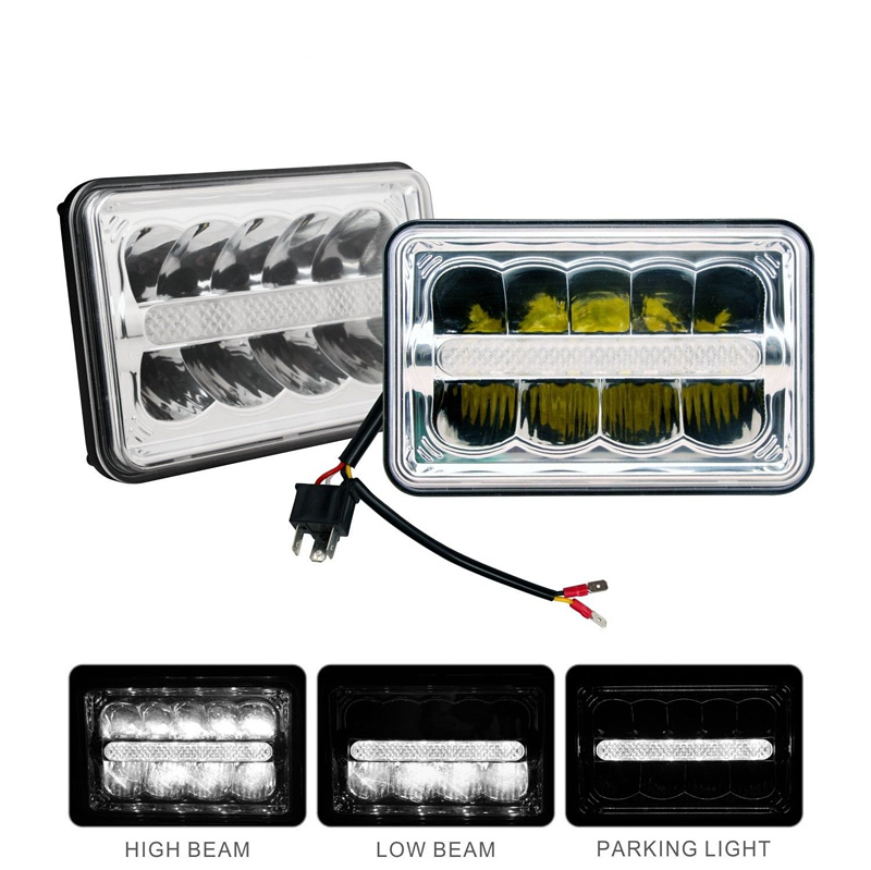 4x6 inch Rectangular Led Chrome Headlight DRL Hi/Lo Beam headlight For Chevrolet Chevy Camaro Peterbilt FreIghtliner Truck 2Pcs