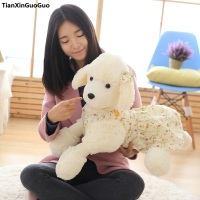 Large 65cm Cartoon Poodle Dog Plush Toy Prone Dog Dressed Skirt Soft Doll Hugging Pillow Birthday