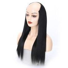 Gres Women Long Straight Half Wigs High Temperature Fiber 26inch Headbang Wig for Lady Ombre Color Synthetic Hair Pieces недорого