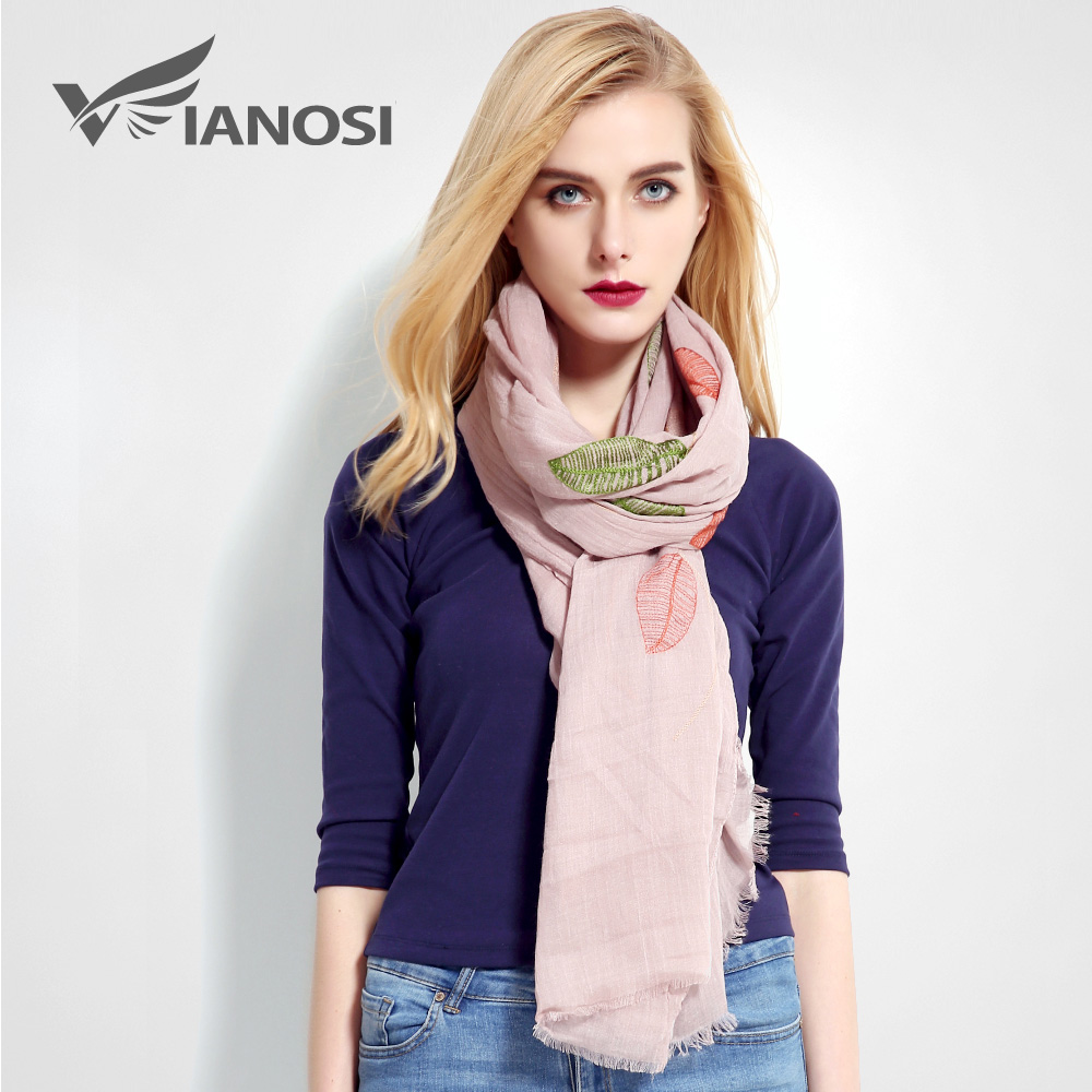[VIANOSI] Newest Design Leaf Pattern Scarf Women Luxury Foulard Fashion Bandana Brand Shawl Soft Cotton Scarves Ladies VR017