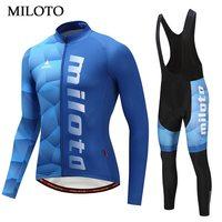 Miloto Blue Shirt Long Sleeve Cycling Jersey Men BIke cycling clothing maillot ciclismo roupa ciclismo Cycling set