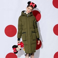 Women's Hooded Long Straight Down Jackets Army Green Casual Down Coats