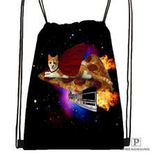 Custom cutest_cat_among_the_wheat_ Drawstring Backpack Bag Cute Daypack Kids Satchel (Black Back) 31x40cm#180611-03-131