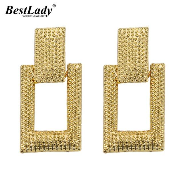 Best lady Trendy Women Metal Stud Earrings Wedding Party Vintage Quadrate Bohemian Bridal Gifts Statement Earrings Jewellery