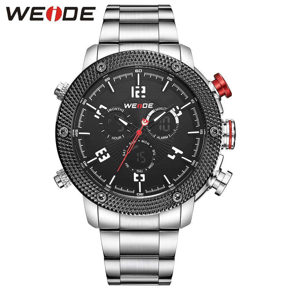 WEIDE Luxury Brand Business Men's Watches Analog LCD Display Multiple Time Zone Stainless Steel Strap Black Dial weide luxury business brand watch multiple time zone men analog digital alarm hot sale military waterproof watches sport brand