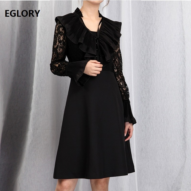 High Quality Spring Dress 2019 Fashion Style Women V-Neck Lace Patchwork Flare Sleeve Slim Fitted Black Elegant Dress for Party