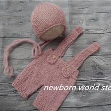 Штанишки для малышей и шляпа, реквизит для фотографии новорожденных мохеровые брюки и шляпа
