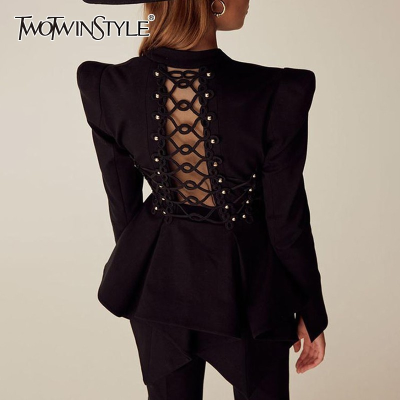 TWOTWINSTYLE Elegant Beading Blazer For Women V Neck Long Sleeve Hollow Out Tunic Slim Coat Female Fashion Clothing 2020 New