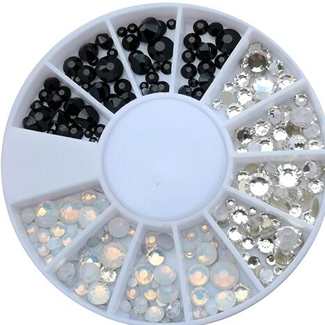 4 Designs 1pc Multi-size Opal Rhinestone 3D Nail Art Wheel Crystal Flatback Bottom Decoration Gems 3 colors