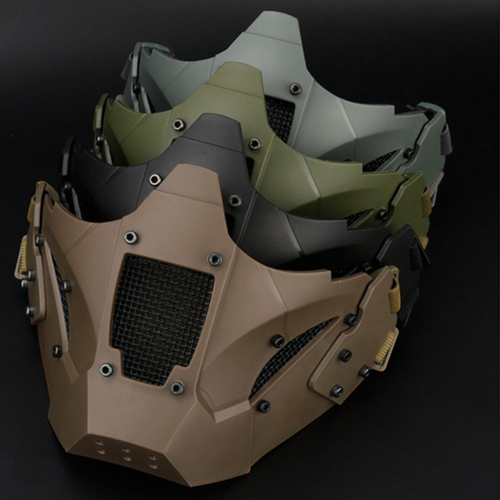 WosporT Tactical Airsoft Paintball Half Face Mask Protective CS Military Game Paintball Metal Steel Net Mesh Masks