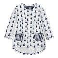 Novos vestidos da moda meninas, algodão estampado longo-manga com bolso, filho no próximo estilo de roupa, outono crianças roupas casuais (1-7 anos)