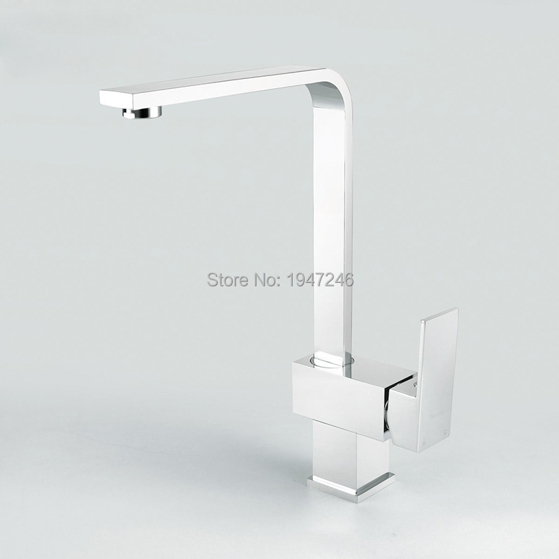 New Wholesale High Quality Solid Brass Heavy Square Style Chrome Sink Mixer Kitchen Faucet Longreach Tap factory direct wholesale promotion new luxury high quality modern chrome twin lever swivel spout monobloc kitchen sink mixer tap