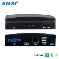 Smar сверхкомпактный сетевой видеорегистратор 4CH 8CH сети Регистраторы CCTV NVR Onvif H.264 для 720 P/960 P/1080 P IP Камера Поддержка eSATA/TF/USB