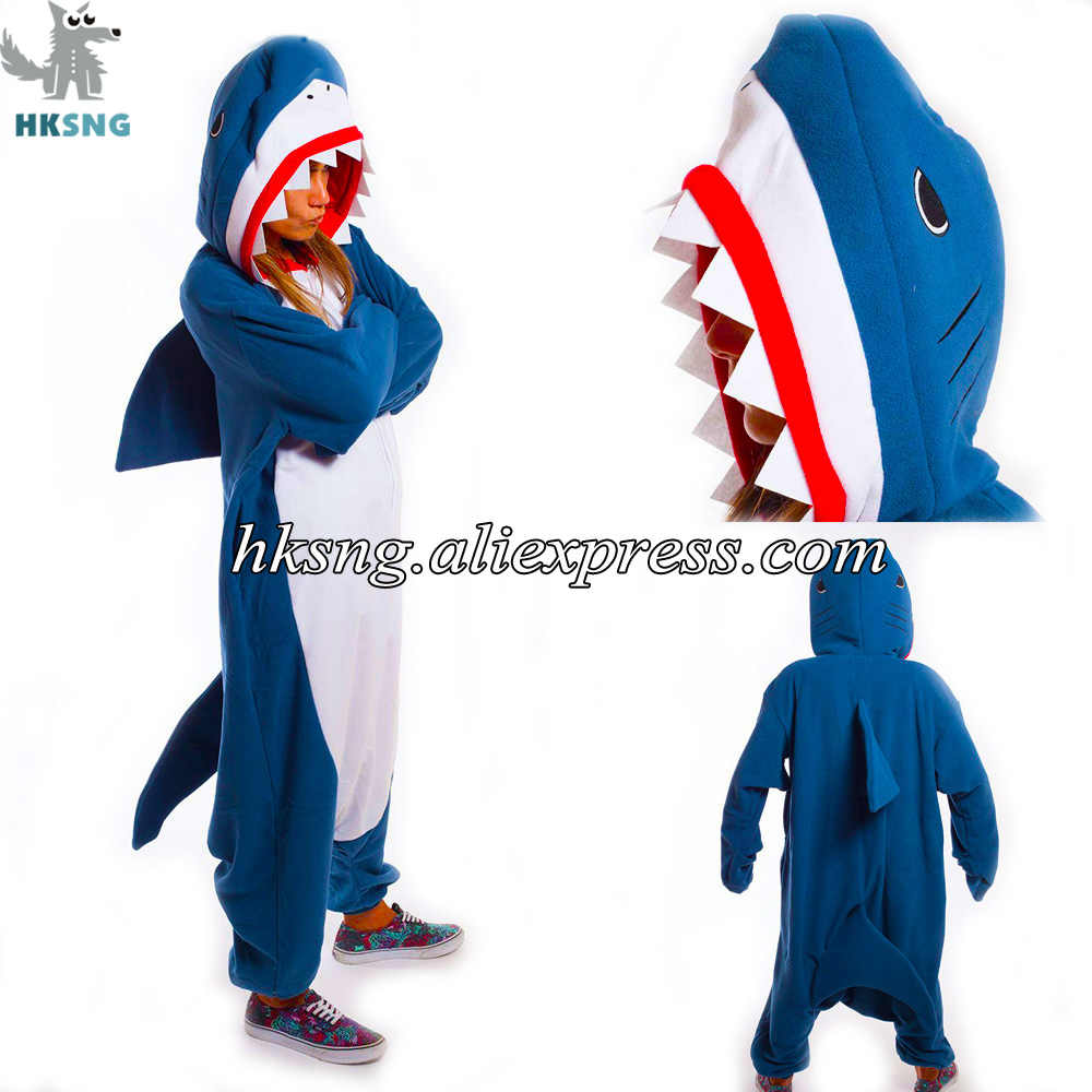 HKSNG Drop Shipping Adulto Tubarão Kigurumi Onesies Pijamas Dragão Animal Panda Ponto Pokemon Pijamas Trajes Cosplay