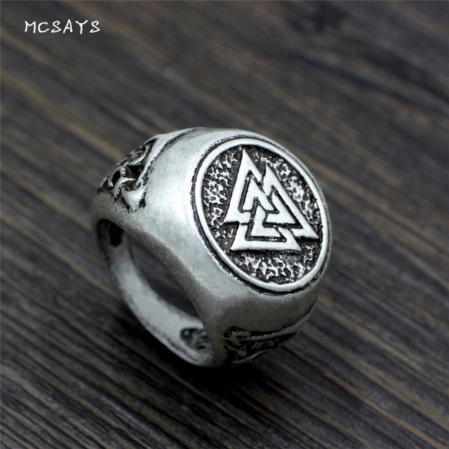 MCSAYS Norse Viking Jewelry Retro Odin Valknut Pattern Ring Mens