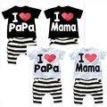 2016 Детская Одежда Летний Набор мальчики девочки I Love Папа и Мама с коротким рукавом футболка + брюки костюм дети пижамы набор