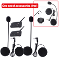 Accesorios adicionales + 2 unids v4 4 riders intercomunicador bluetooth headset casco de la motocicleta auriculares fm radio comunicador moto