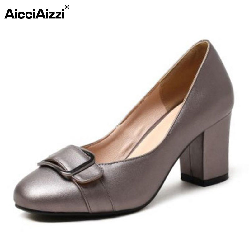 AicciAizzi Ladies High Heels Shoes Women Buckle Bowknot Round Toe Thick Heel Pumps Women'S Office Daily Footwear Size 32-43 taoffen size 32 43 4 color women high heels shoes round toe thick heel pumps fashion platform bowknot party wedding footwear