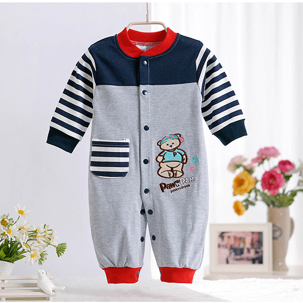 Spring Autumn New Cute Animal Pattern Baby Rompers Boys Girls Long Jumpsuit Comfortable Cotton Crawling Coverall Clothing CL0884 2016 new winter spring autumn girls kids boys bunnies patch cotton sweater comfortable cute baby clothes children clothing