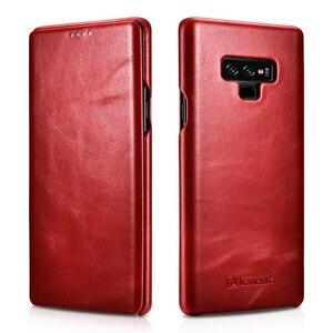 Image 5 - Slim Retro Koeienhuid Lederen Flip Case voor Samsung Galaxy Note9 Bedrijvengids Real Leather Smart Telefoon Cover voor Samsung Note8
