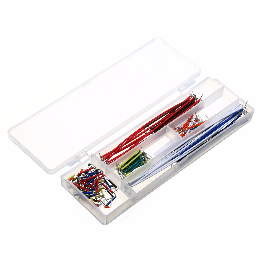 цена на 140pcs Solderless Breadboard Jumper 22 AWG Solid Wires Cable Kit with Box 165 x 55 x 10mm For Arduino
