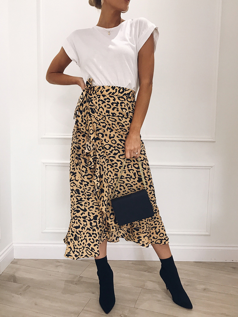 Hot Sale 19 New Slim Fashion Casual Women Leopard Print Boho Wrap Over Aysmmetric Loose Skirt Summer High Waist Midi Skirts 13