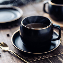 MUZITY Ceramic Coffee Cup and Saucer Black Pigmented Porcelain Tea Cup Set with Stainless Steel 304 Spoon