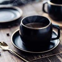 Tasse à café en céramique MUZITY et soucoupe tasse à thé en porcelaine pigmentée noire sertie d'une cuillère en acier inoxydable 304