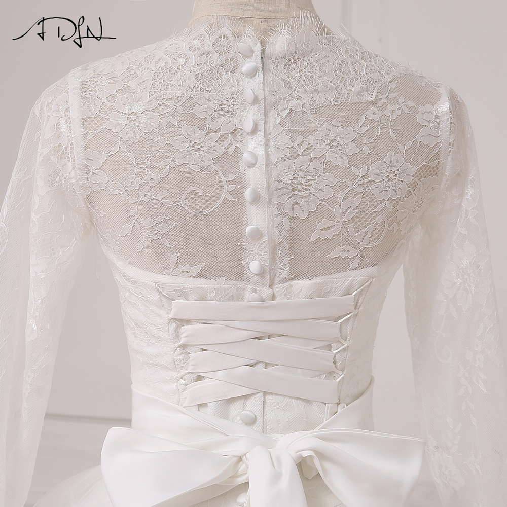 ADLN A-line Bröllopsklänning Långärmade Tulle Golvlängd Arabiska - Bröllopsklänningar - Foto 6