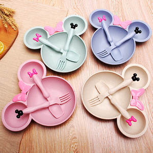 Bowl-Plate-Spoon Dinnerware-Set Wheat-Tableware Mickey-Dishes Baby Feeding Solid 3