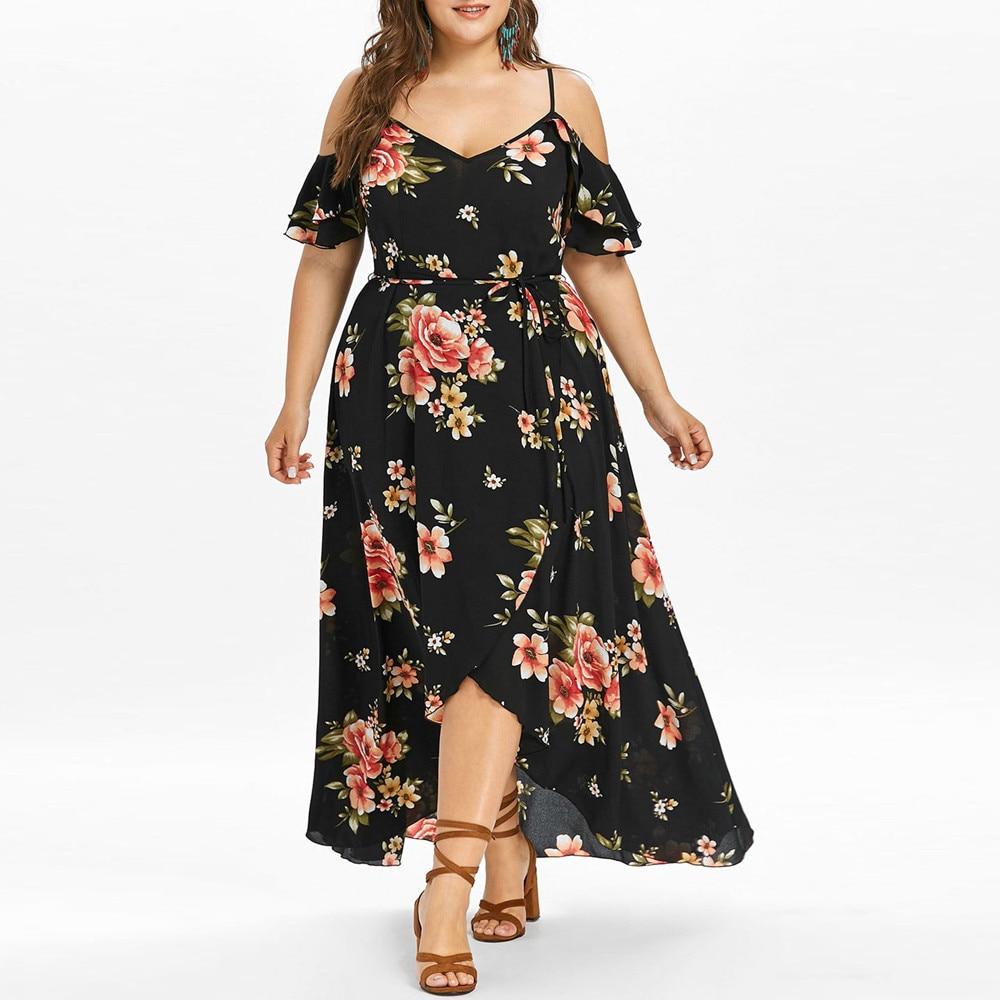 Summer Large Size Loose Lady Flower Print Sling Strapless Short Sleeve Irregular Dress Beach Bohemian Split Elegant Maxi Dresses