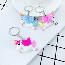 New PVC soft glue material cartoon unicorn styling key buckle pendant girl bag car childrens toys small Gifts